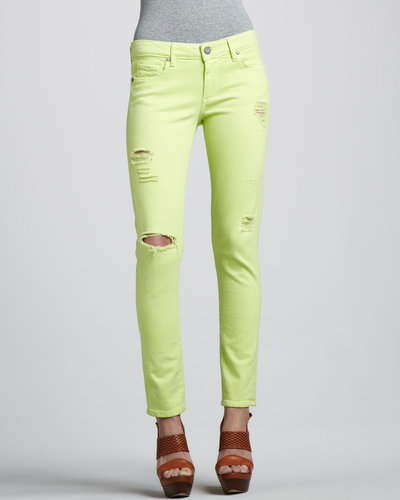 Paige Denim Skyline Ankle Peg Jeans, Neon Citron