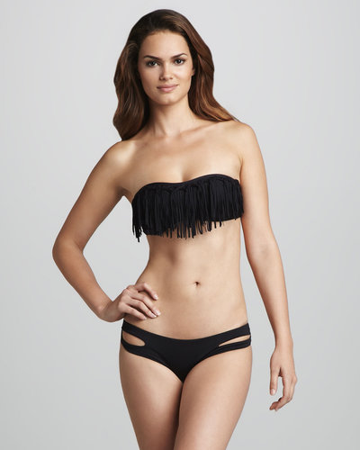 L Space Swimwear by Monica Wise Fringe Bandeau Bikini Top