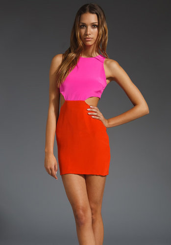 Naven 2 Tone Cutout Dress in Pop Pink/Orange Crush