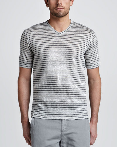 Vince Linen Striped V-Neck Tee, Gray