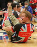 Prince Harry played with the British Warrior Games team during an exhibition sitting volleyball match on Saturday in Colorado Springs, CO.