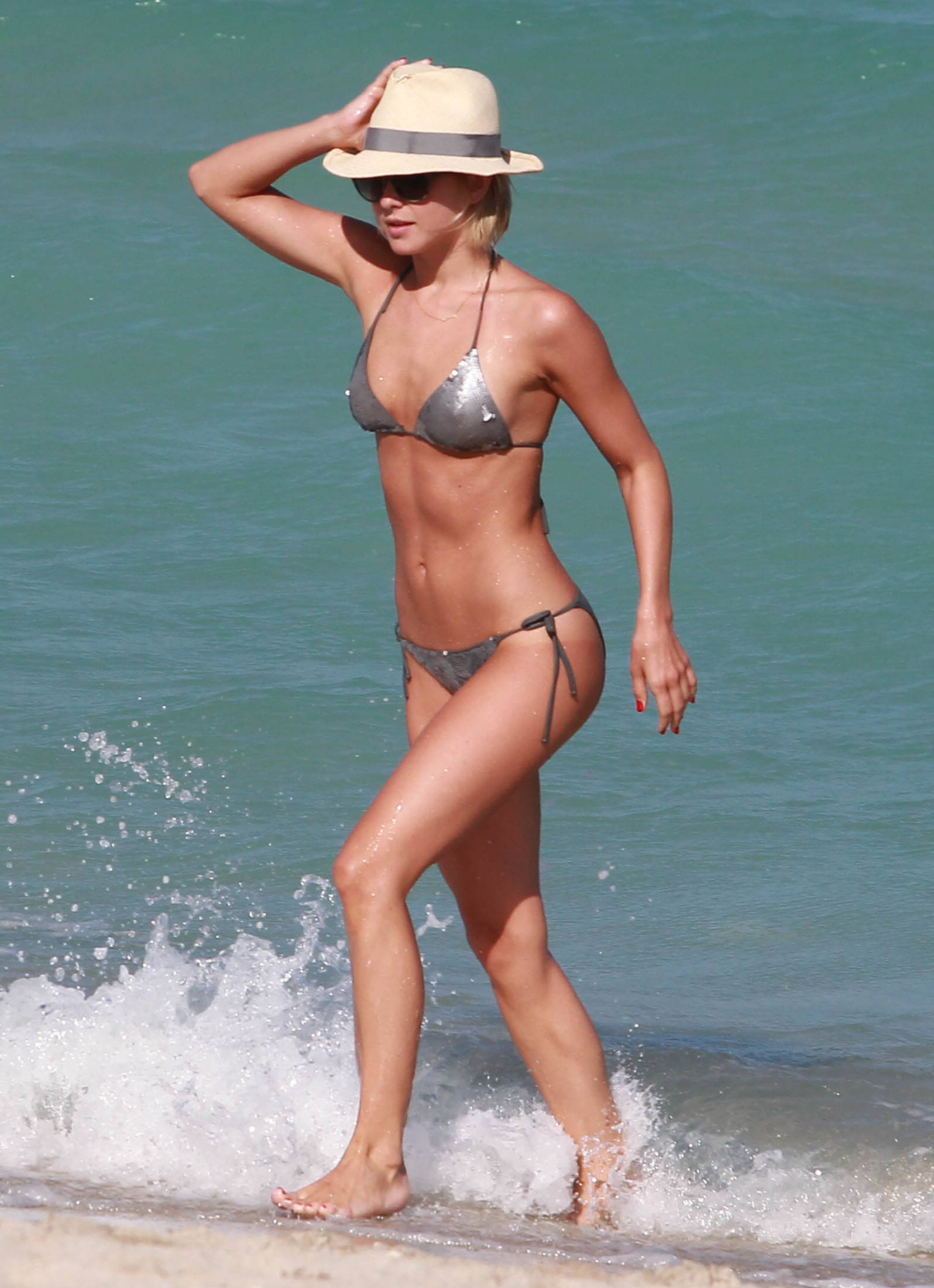 Julianne Hough glistened in a metallic bikini while stepping out of the water in Miami.