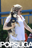 Kristen Bell carried her dog Shakey in LA.
