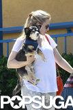 Kristen Bell carried her dog Shakey in LA.