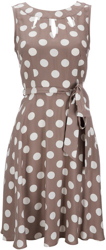 Taupe Polka Dot Petite Dress