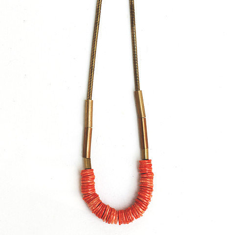 Hey Murphy Brass And Coral Necklace