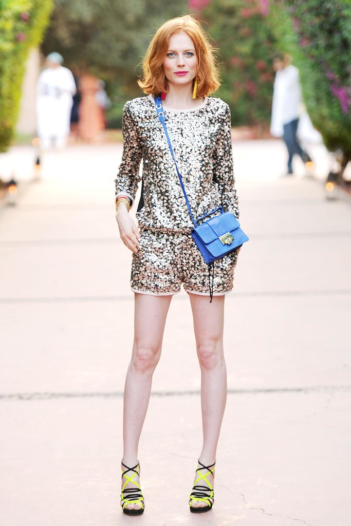 There's no such thing as too much sparkle for Jessica Joffe, who did a matching Diane von Furstenberg top and shorts accented with a blue crossbody bag. Source: Billy Farrell/BFAnyc.com