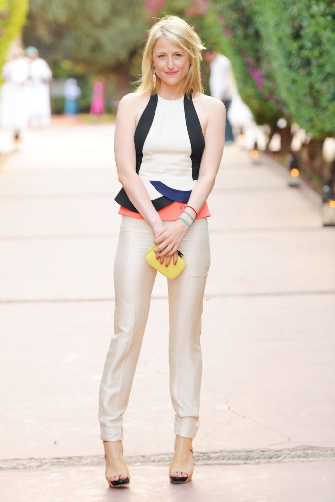 Not into pure white? Mamie Gummer flirts with the unofficial shade of Summer by doing flaxen trousers with a colorblocked peplum tank, both by DVF. Source: Billy Farrell/BFAnyc.com