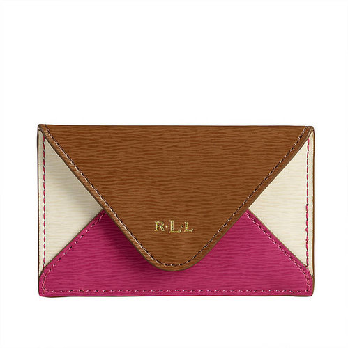 LAUREN RALPH LAUREN Newbury Leather Color-Blocked Envelope Card Case