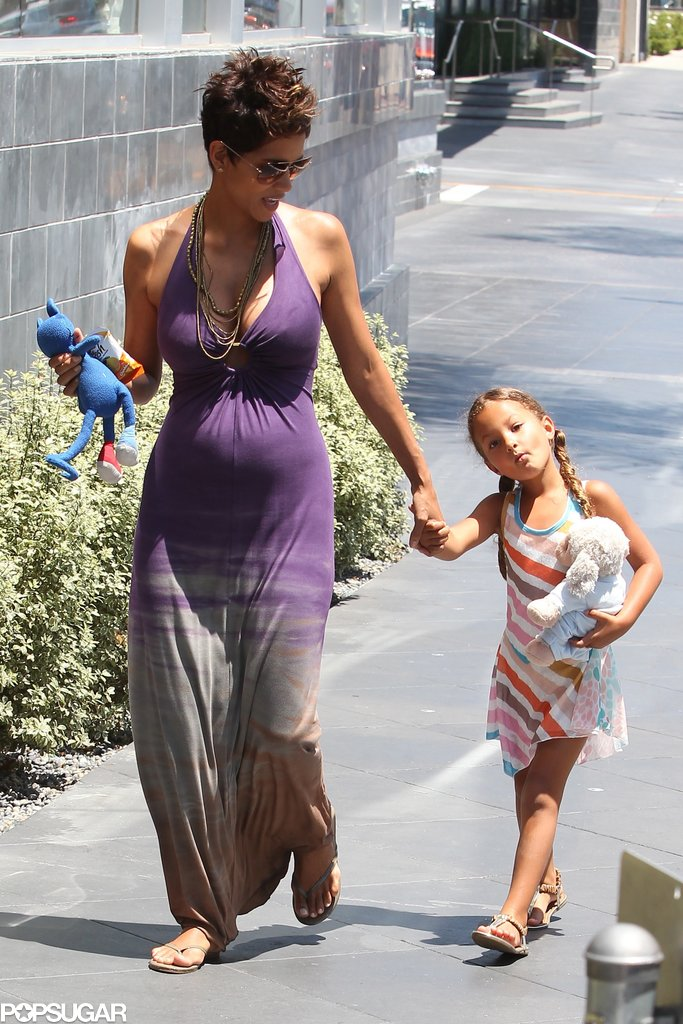 Pregnant Halle Berry and her daughter, Nahla Aubry, went to a Mother's Day lunch in LA and were joined by Olivier Martinez.