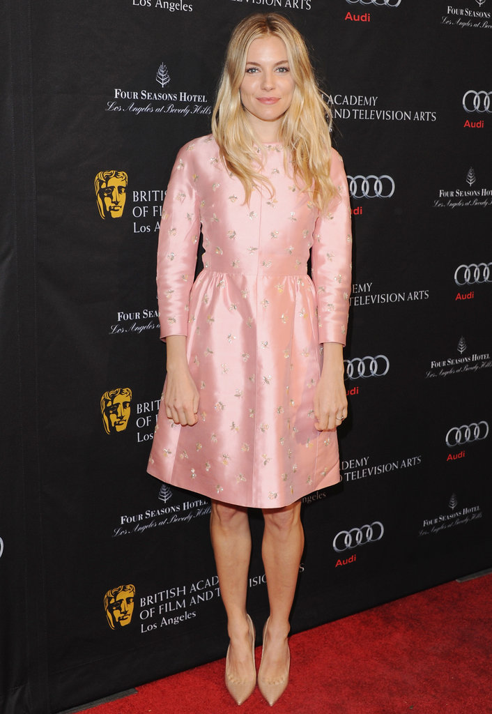 Her embellished pink Valentino dress at the 2013 BAFTA tea party in LA was a sweet daytime choice.