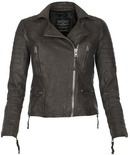 Slate Leather Biker Jacket