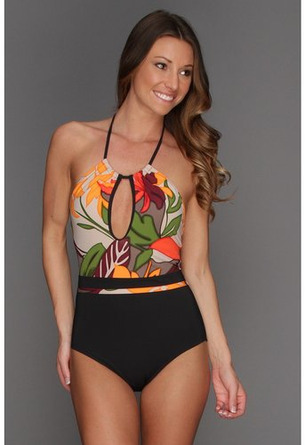 Calvin Klein - Botanical High Neck One-Piece Swimsuit (Black) - Apparel