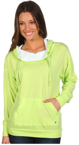 PUMA - Light Weight Cover Up Pullover Hoodie (Sharp Green/White) - Apparel