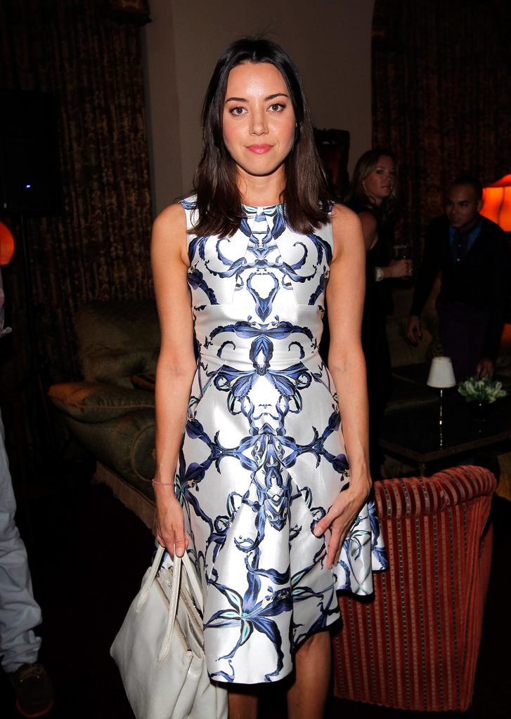 Aubrey Plaza dined with guests at the Vogue and MAC Cosmetics dinner.