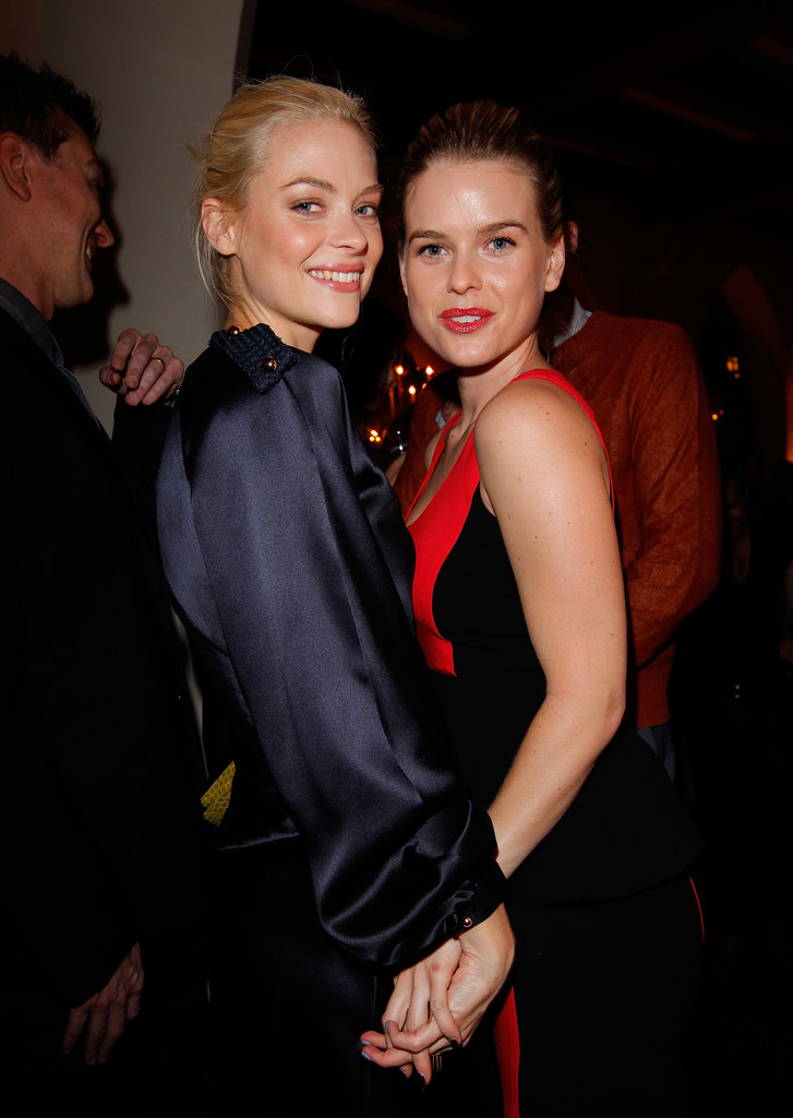 Jaime King and Alice Eve locked hands at the dinner.