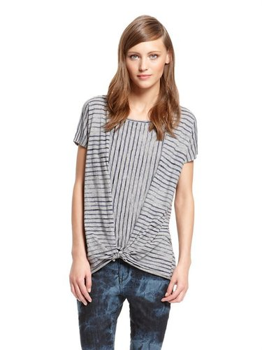 DKNY Jeans Painted Stripe Tie Front Short Sleeve Knit
