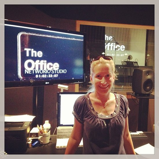 Angela Kinsey put on a happy face for her last day in the recording studio for The Office. Source: Instagram user angelakinsey