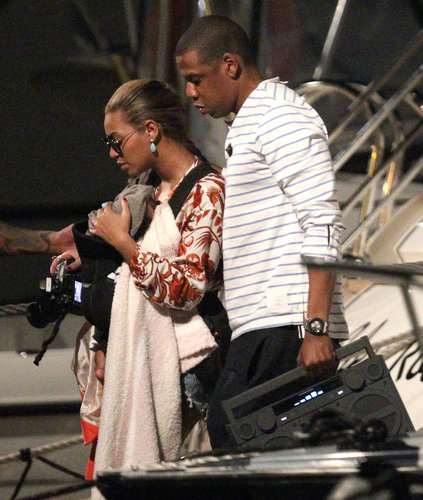 Beyoncé Knowles and Jay-Z took baby Blue Ivy Carter on her first boat ride during a trip to St. Barts in 2012.