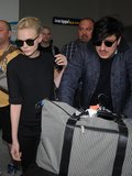Carey Mulligan and Marcus Mumford toted their luggage out of Nice airport on Tuesday.