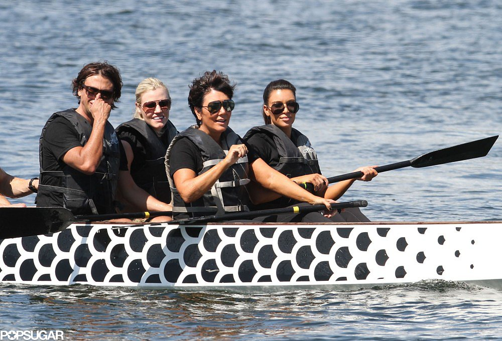 Kim Kardashian went rowing with her parents, Bruce and Kris Jenner, in Miami in September 2012.