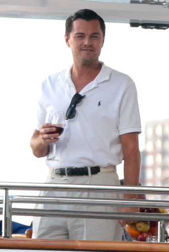 Leonardo DiCaprio looked handsome while shooting The Wolf of Wall Street on a boat in New York in September 2012.