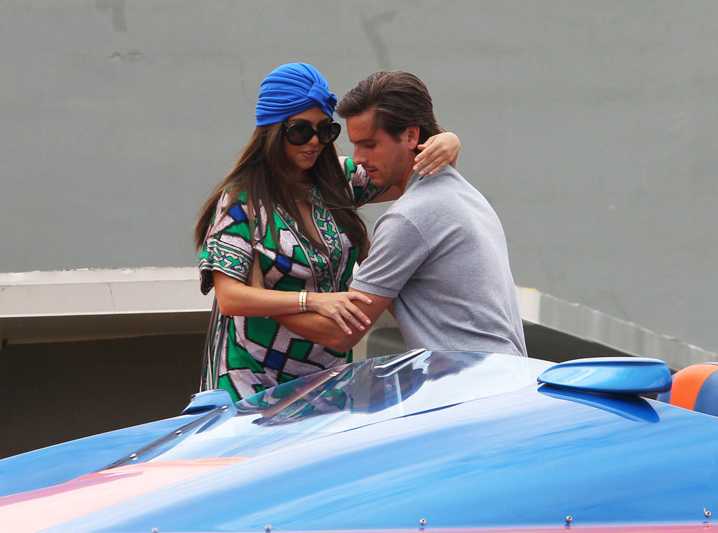 Kourtney Kardashian got a helping hand from her boyfriend Scott Disick as they prepped for a speed boat ride in Miami in September 2012.