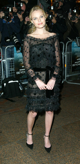 Kate Bosworth arrived at the 2004 London premiere of Beyond the Sea in a black long-sleeved dress complete with sheer detail and a  velour belt.