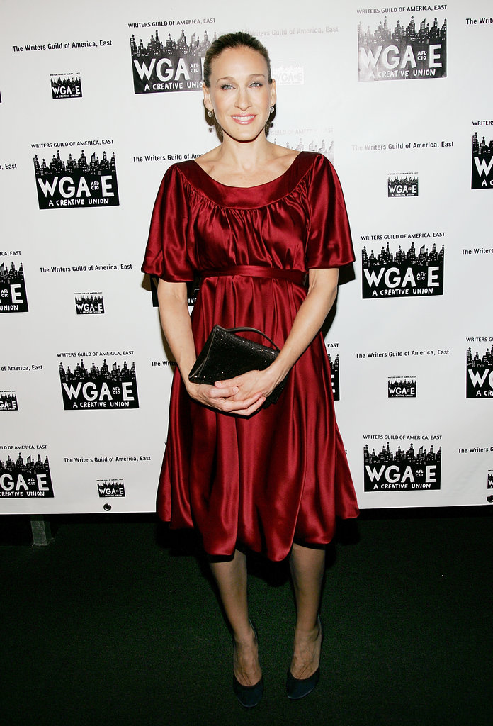 Sarah Jessica Parker stepped out in a fiery red satin dress for the 59th Annual Writers Guild of America Awards in NYC.