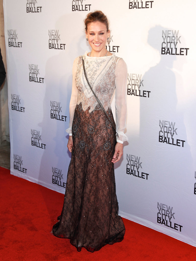 The actress donned an ornate allover lace Valentino gown for the 2011 New York City Ballet Spring Gala.