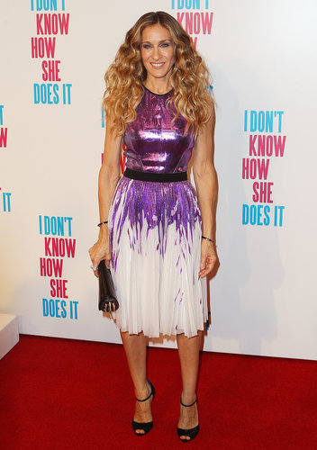 Sarah Jessica Parker brought major sparkle down under in a metallic purple Prabal Gurung creation at the Melbourne premiere of I Don't Know How She Does It.