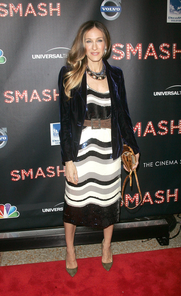 At a 2012 NBC event in NYC, Sarah Jessica paired a sequined Tory Burch dress with a velvet navy Yves Saint Laurent blazer and pointed Manolo Blahnik pumps. A lizard VBH clutch and Fred Leighton jewels completed her party style.