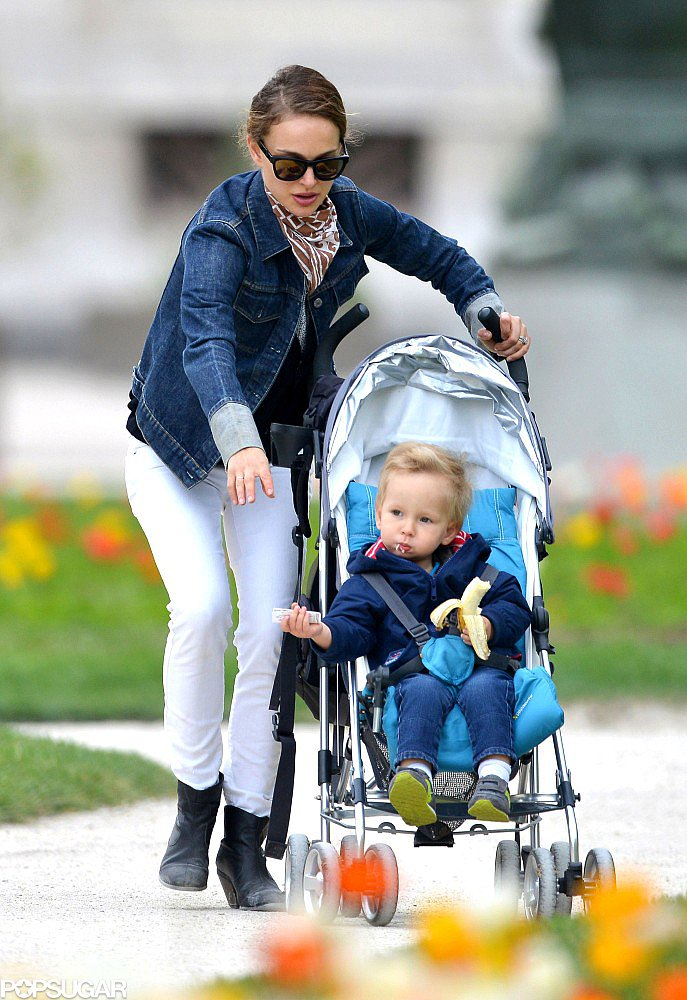 Natalie Portman took her son, Aleph Millepied, for a stroll through a Paris park.