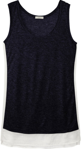 CLU Silk chiffon-trimmed stretch-jersey tank