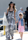 Jessica Alba's black-and-white Sam & Lavi maxi dress found the perfect companion in her black hat during a day out in LA.