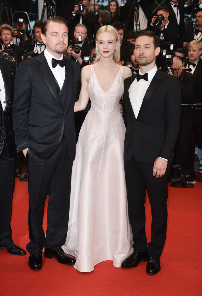 At The Great Gatsby premiere at the Cannes Film Festival, Carey Mulligan donned a pale pink Dior gown with a plunging neckline.
