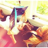 Rachel Zoe read a book to her son, Skyler Berman. Source: Instagram user rachelzoe