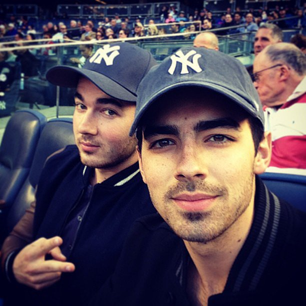 Kevin and Joe Jonas took in a NY Yankees game together. Source: Instagram user adamjosephj