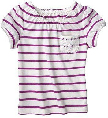 Cherokee ® Infant Toddler Girls' Short-Sleeve Top - Cream/Purple