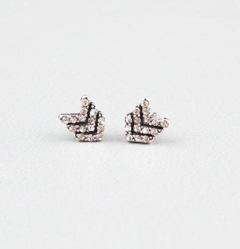 FULL TILT Rhinestone Chevron Stud Earrings