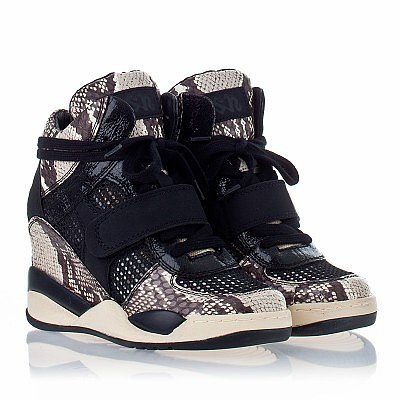 ASH FUNKY WEDGE SNEAKER BLACK AND WHITE SNAKE PRINT