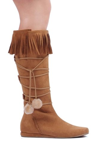 Heel Boot with fringe and poms