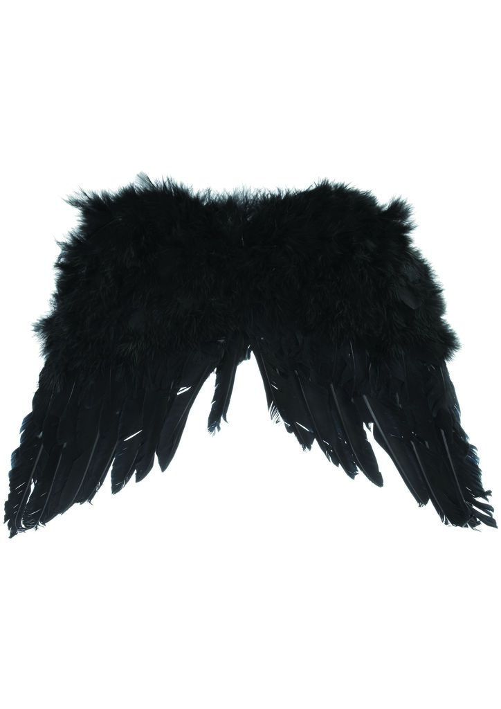 Black feathered angel wings — a very dark-meets-bohemian concertgoer choice — from the Topshop Festival Collection for Summer 2013, inspired by Kate Bosworth.