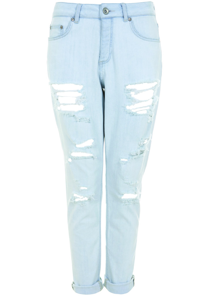 Light blue denim with slightly worn-in distressing is par for the course for the Topshop Festival Collection for Summer 2013, inspired by Kate Bosworth.