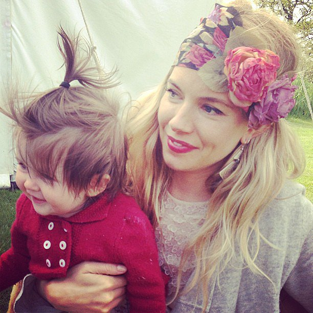 Sienna Miller and her daughter, Marlowe, attended a birthday party (how cute are Sienna's headband and baby Marlowe's tiny ponytail?). Source: Instagram user poppydelevingne