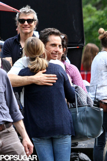 Ben Stiller hugged his wife, Christine Taylor.