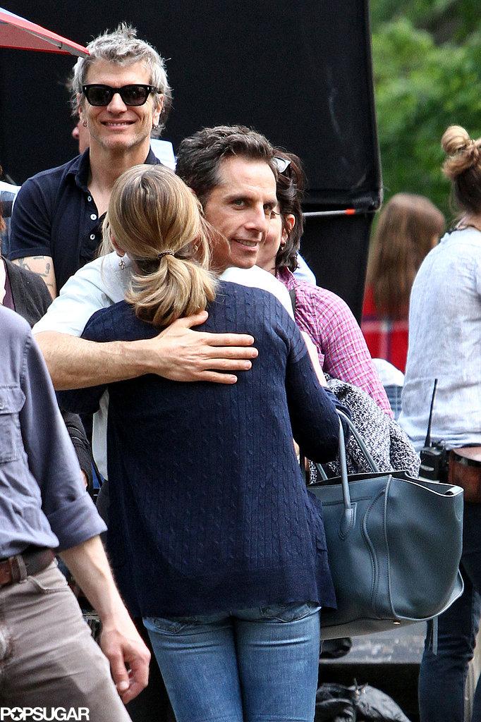 Ben Stiller hugged his wife, Christine Taylor.