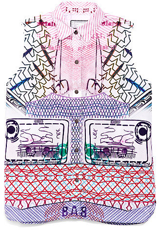 Mary Katrantzou x Current/Elliott The Acrobat Pink Keys Sleeveless Shirt