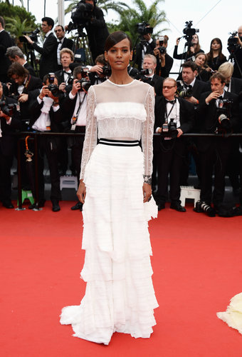 Liya Kebede chose a romantic white, ruffle-tiered Alberta Ferretti gown the Jeune & Jolie red carpet.