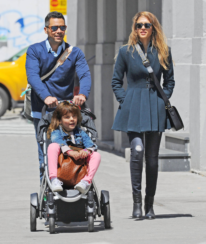 Jessica Alba and Cash Warren strolled through NYC in May 2013 with their daughter Honor.